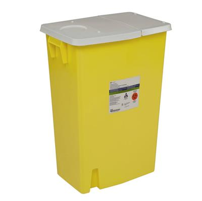 SharpSafety™ Chemotherapy Container, Hinged Lid, Yellow, 18 Gallon  5/CS