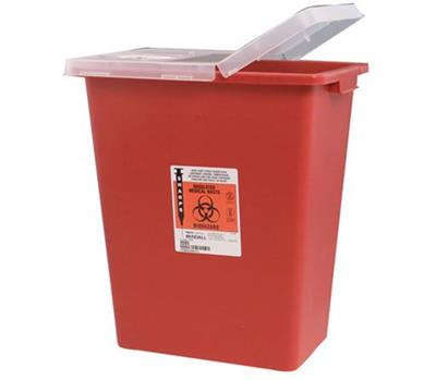 Multi Purpose Sharps Container Biomax 1-Piece 26H X 18.25W X 12.75D Inch 18 Gallon Red Hinged Lid 5/