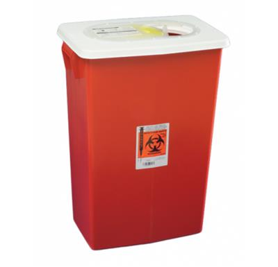 Multi-purpose Sharps Container Biomax 1-Piece 26H X 18.25W X 12.75D Inch 18 Gallon Red Base Hinged L