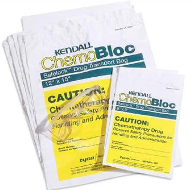 Chemotherapy Drug Transport Bag Ziplock Closure Safelock 12 X 15 Inch White / Yellow Block 250/case