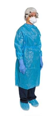 Chemotherapy Gown ChemoPlus Large Blue Long Sleeve Poly Coated NonSterile 30/case