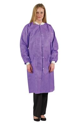 Edge 67150 Lab Coat (Purple) 2XL, Three-Layer SMS Fabric, Multi-layer Construction Resists Tearing, Snap Front Coats with Knitted Polyester Collars and Cuffs, 3 Pockets, 30/CS