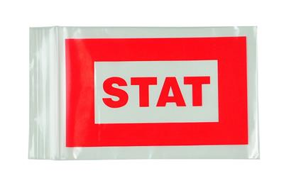 "Red ""STAT"" Bags - Seal Top Reclosable 5""x8"" 1000/case"