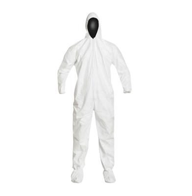 DuPont™, Tyvek®, IsoClean®, Coverall, Serged Seams, Attached Elastic Hood, Set Sleeve Design, Elastic Wrists and Ankles, Attached Thumb Loops, Zipper Closure, Attached Boots w/PVC Soles, XL, White.