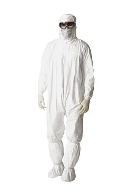 Dupont, Tyvek, IsoClean, Size Large, White, Coverall, Zipper Front, Hood, Elastic Wrist And Ankle, Stormflap, Bulk Packed, 25/CS