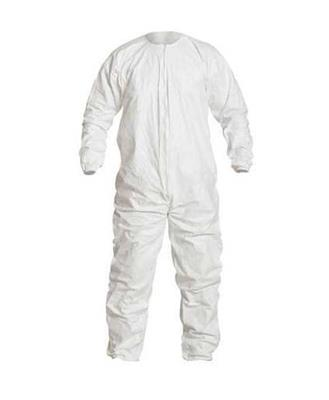 Cleanroom Coverall, DuPont, Tyvek, IsoClean, Large, White, Disposable, Zipper Front, Elastic Wrist A