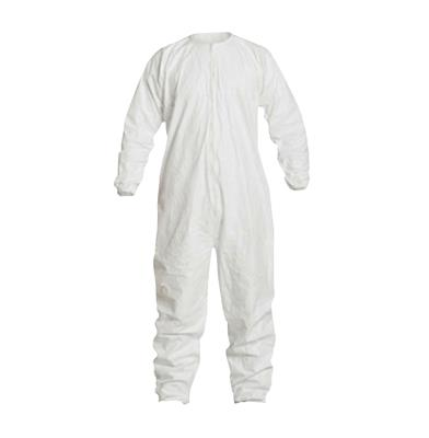 DuPont™ Tyvek® IsoClean® Coverall, Clean and Sterile, Bound Seams, Bound Neck, Dolman Sleeve Design, Covered Elastic Wrists and Ankles, Zipper Closure. Snaps for Aseptic Donning, Medium, White, 25/CS