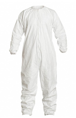 DuPont™ Tyvek® IsoClean® Coverall, Clean and Sterile, Bound Seams, Bound Neck, Dolman Sleeve Design, Covered Elastic Wrists and Ankles, Zipper Closure. Snaps for Aseptic Donning, XL, White, 25/CS