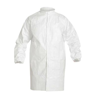 DuPont, Tyvek, IsoClean, Frock, Serged Seams, High Mandarin Collar with Snap, Set Sleeve Design, Elastic Wrists, Front Snap Closure, Large, White, 30/CS