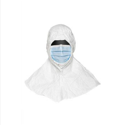 "Tyvek IsoClean White Hood w/Pleated 7"" Blue Face Mask, Bound Seams, Ties with Loops for Fit, 100/CS"