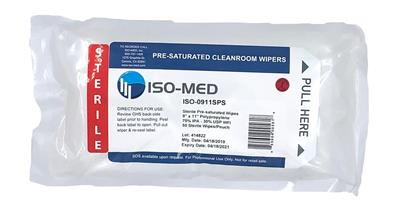 "Sterile ISO-MED Plus Pre-Sat Wipes, 70% IPA / 30% DI Water , 100% Melt-blown Polypropylene 9"" x 11"""