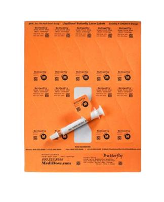 "LiquiDose Butterfly Laser/Ink Jet Labels 1-1/4"" x 4-1/4"" Orange"