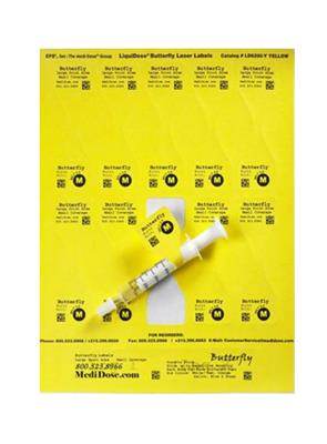"LiquiDose Butterfly Laser/Ink Jet Labels 1-1/4"" x 4-1/4"" Yellow 1000/doses"