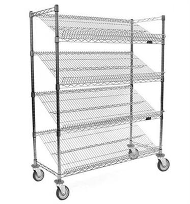 "Angled Shelf/Visual Merchandising Cart, 4‐tier, 36""W x 18""D x 68""H, Reversible Wire Shelves w/Adjust"