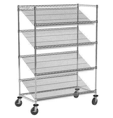 "Angled Shelf, Wire, 36""W x 18""D, Reversible, 3‐1/4"" Up‐Turn on front, 1‐1/4"" up‐turn on Rear, For An"