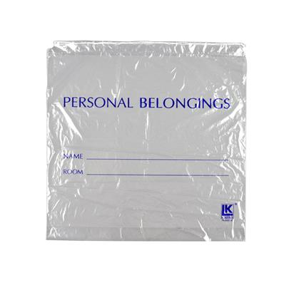 Clear Personal Belongings Bag with Cordstring Closure 250/case