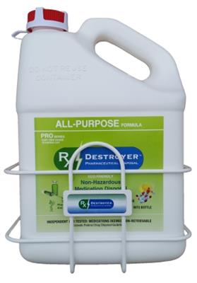 Rx Destroyer 1 Gallon Bottle Mount w/ Security Cable, 1/EA