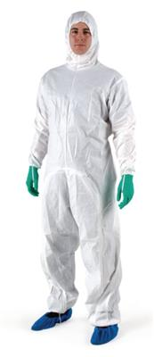 BioClean-D Drop Down Sterile Garment w/Hood, CleanTough Material, ISO Class 4 Compatible, Antistatic, Individually Wrapped, White, Extra Large, 20/CS