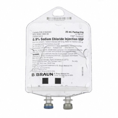 Replacement Preparation Sodium Chloride 0.9% Intravenous IV Solution Flexible Bag 25 mL Fill in 100 mL