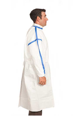 Sterile Clean Room Gown, Chemo Tested, Breathable PE/PP, Level 3 impervious, stand up collar with ve