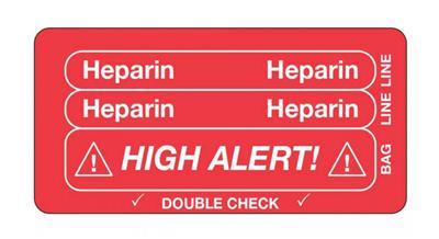 Tracing Label - Heparin