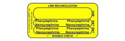 Line Tracing Label - Phenylephrine Neosynephrine Black Text on Yellow Background 1000/Labels/roll