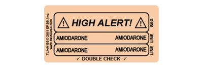 Line Tracing Label - AMIODARONE Black Text on Peach Background 1000/Labels/roll